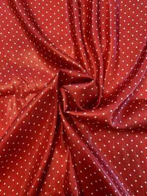 Italian Polka Dot Printed Silk and Poly Lame - Red / White