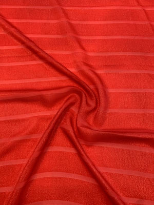 J Mendel Italian Striped Silk and Lurex Chiffon - Fire Red
