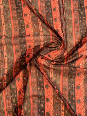 Striped and Paisley Printed Crinkled Polyester Chiffon with Lurex Thead - Paprika / Red / Maroon / Green