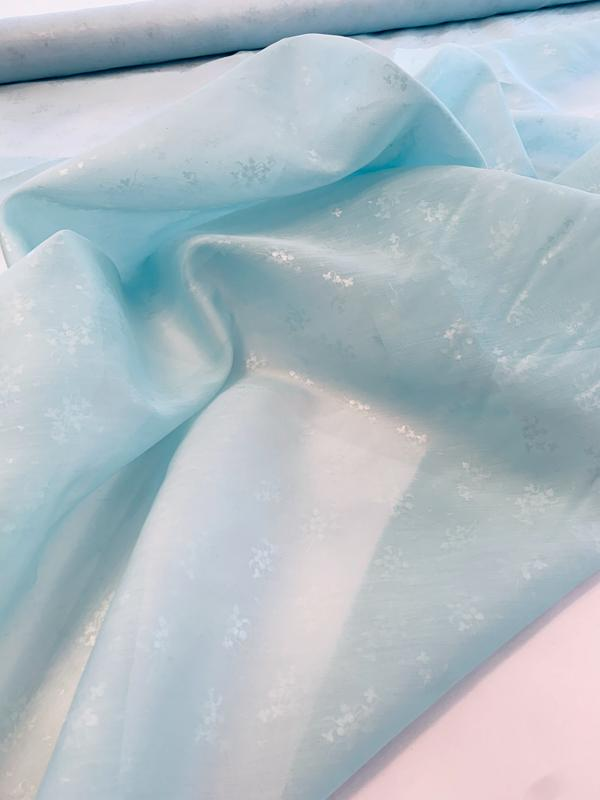 Ralph Lauren Delicate Floral Laminated Print Silk and Cotton Organdy - Light Seafoam Blue