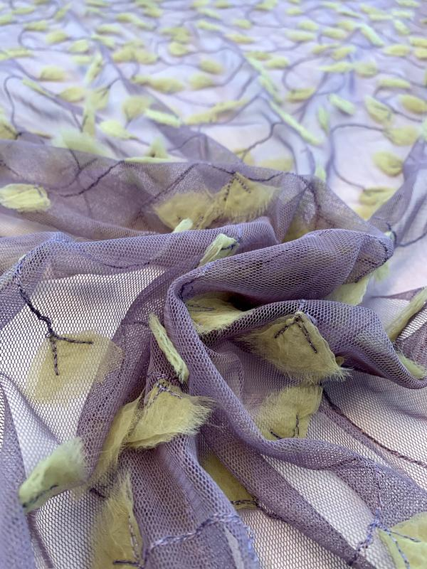 3D Embroidered and Stitched Organza on Polyester Tulle - Dusty Purple / Lime