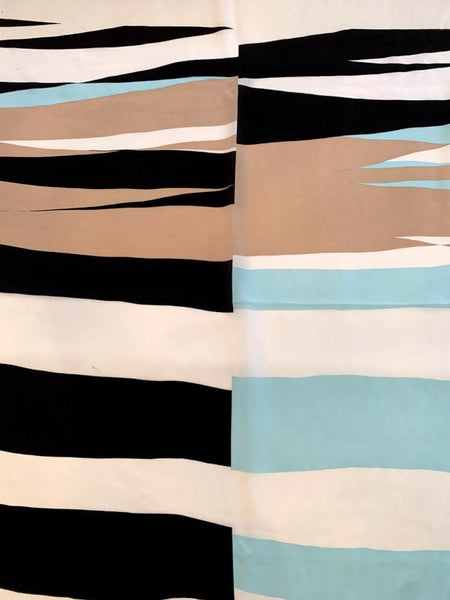 Artsy Geometric Printed Silk Crepe de Chine Panel - Seafoam / Black / White / Tan