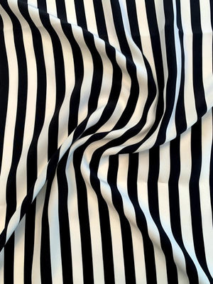 Vertical Striped Printed Silk Charmeuse Panel - Black / Ivory