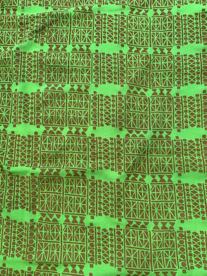 Ethnic Art Deco Printed Stretch Silk Crepe de Chine - Green / Brown