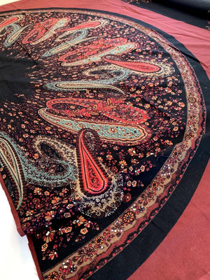 Semi-Circle Paisley Printed Cotton Sheeting Panel - Maroon / Black / Multicolor