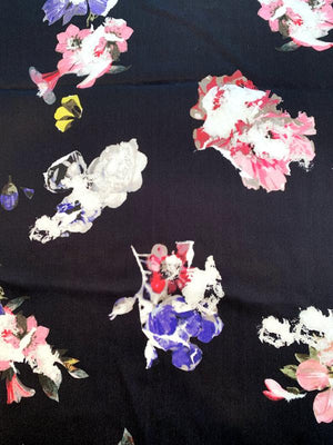 Italian Dynamic Floral Printed Silk Satin Chiffon Panel - Black / Multicolor