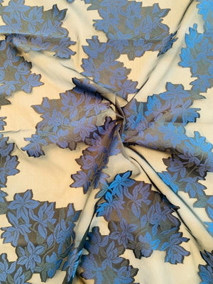 Floral Vines Fil Coupe Polyester Organza - Navy / Black