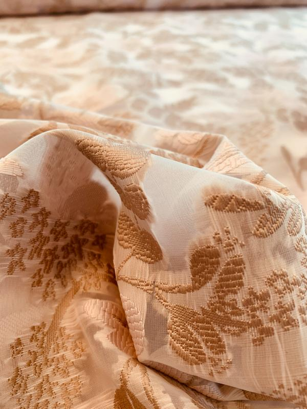 Floral Design Woven on Polyester Organza - Light Taupe / White