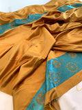 Journey to the Orient Rayon Border Pattern Panel - Mustard Gold / Turquoise