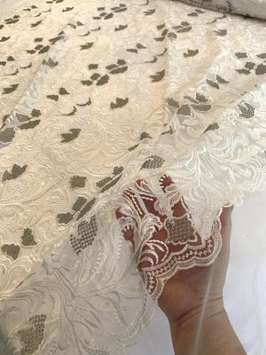 Leaf Design Embroirdered Tulle - Off-White / Silver