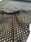 Italian Art Deco Poly Rayon Chenille on Organza - Black