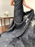 Glam Oversize Floral Lurex and Polyester Organza - Black