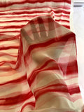 Streaked Stripes Printed Slight Crinkled Silk Chiffon - Hot Pink / Off-White