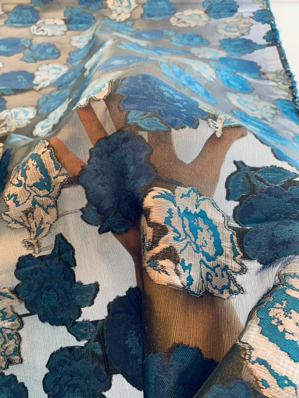 Floral Designer with Lurex on Polyester Organza - Teal Blue / Silver / Black