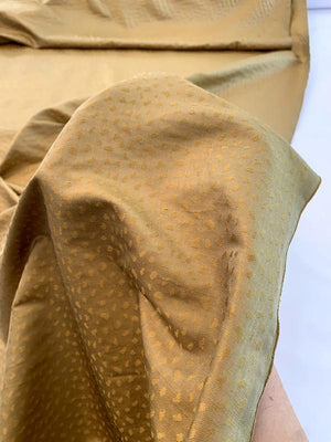 Pebble-Look Jacquard Silk Shantung - Vintage Gold