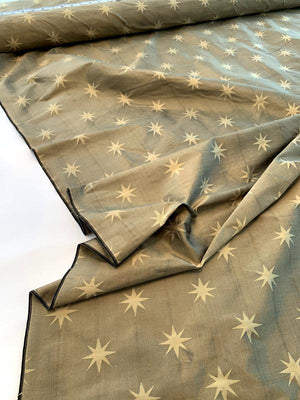 Compass Star Jacquard Silk Shantung - Star Light Bronze