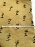 Palm Tree Printed Linen - Lt Olive / Hunter Green