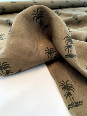 Palm Tree Printed Linen - Cedar Brown / Dk Brown