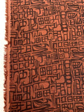Abstract Printed Linen - Wine / Maroon