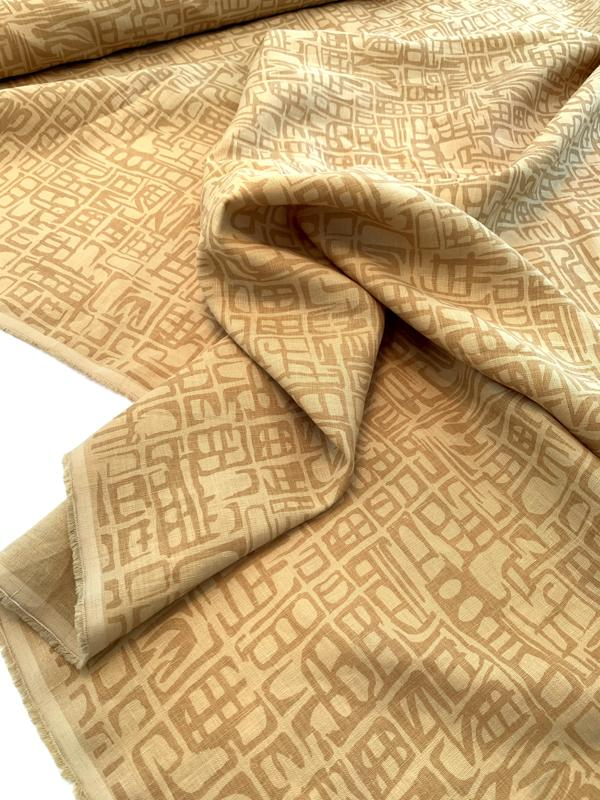 Abstract Printed Linen - Ochre / Dusty Mustard