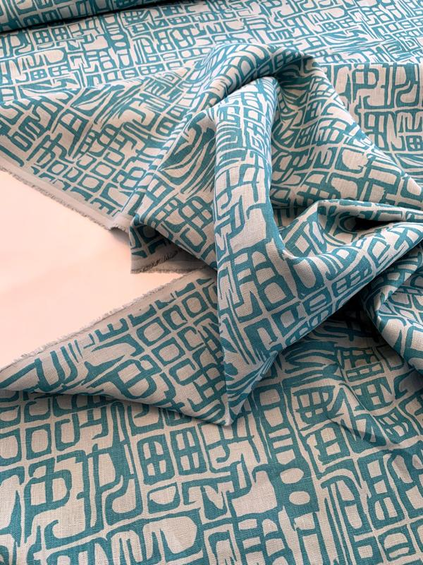 Abstract Printed Linen - Cool Blue / Turquoise