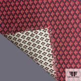 Double-sided Geometric Brocade - Red/Black/White - Fabrics & Fabrics NY