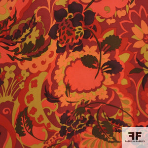Graphic Floral Silk Printed Georgette - Red/Orange/Brown