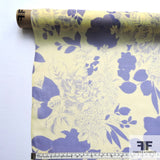 Floral Printed Silk Chiffon - Yellow/Blue