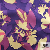 Graphic Floral Printed Silk Chiffon - Purple/Multicolor