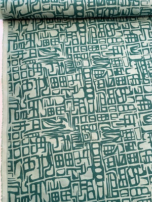 Abstract Printed Linen - Teal / Dusty Teal