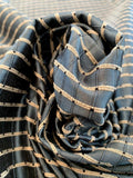 Woven Textured Windowpane Silk Taffeta - Antique Blue / Sand / Black