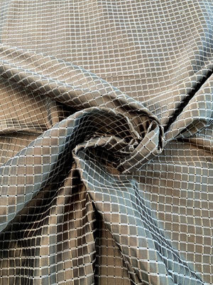 Woven Textured Windowpane Silk Taffeta - Antique Gold / Black