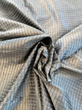 Woven Textured Windowpane Silk Taffeta - Antique Silver / Sand / Black