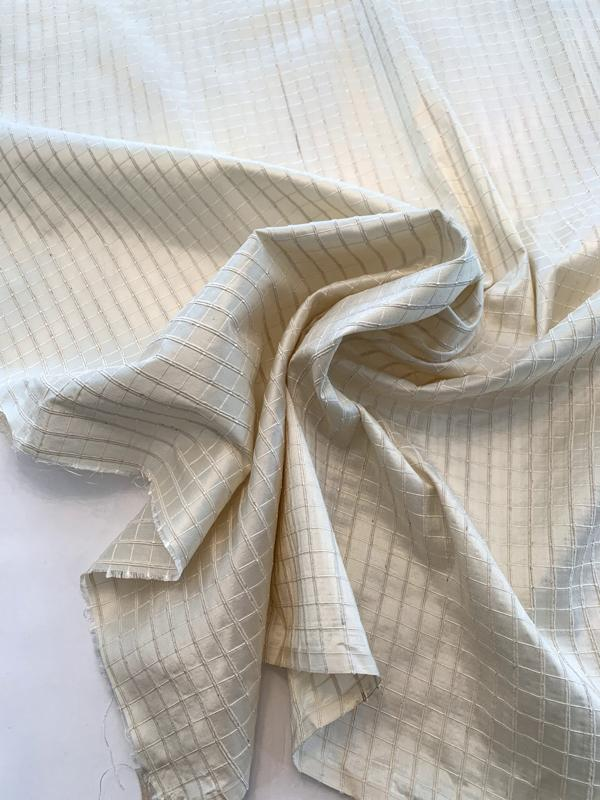 Woven Textured Windowpane Silk Taffeta - Cream