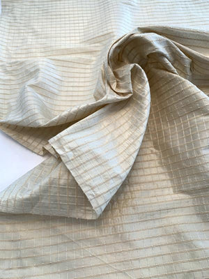 Woven Textured Windowpane Silk Taffeta - Cream / Beige
