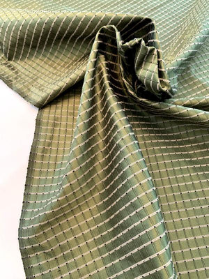 Woven Textured Windowpane Silk Taffeta - Antique Green / Sand / Black