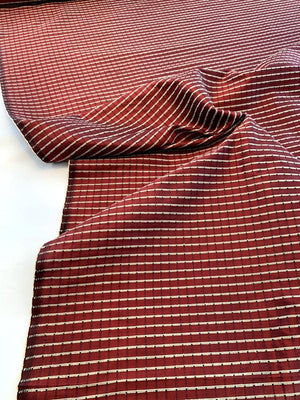 Woven Textured Windowpane Silk Taffeta - Red Wine / Sand / Black