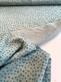 Splatter Circles Printed Linen - Cool Blue / Turquoise