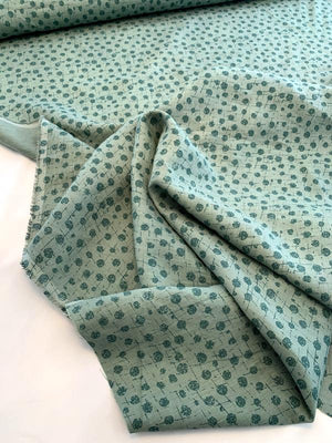Splatter Circles Printed Linen - Teal / Dusty Teal