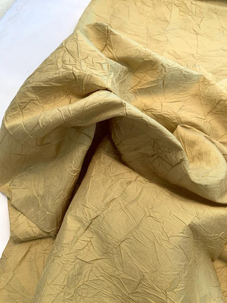 Luxury Crinkle Crushed Silk Taffeta - Dusty Gold
