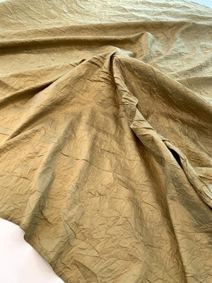 Luxury Crinkle Crushed Silk Taffeta - Flaxen Gold