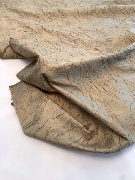 Luxury Crinkle Crushed Silk Taffeta - Desert Sand
