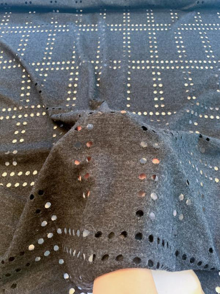 Italian Laser Cut Circle Grid Heathered Wool Jersey - Charcoal Grey