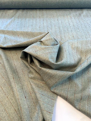 Italian Virgin Wool and Cashmere Blend Striped Suiting - Sage / Beige / Brown