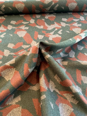Italian Abstract Double-Face Wool Coating - Evergreen / Cinnamon Brown / Grey