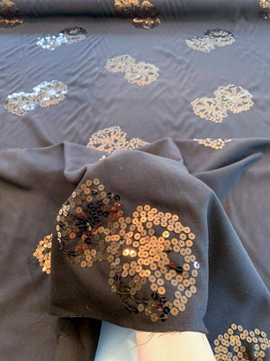Italian Pure Virgin Wool Suiting with  Sequins - Dark Brown