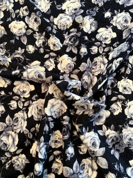 Italian Floral Brushed Printed Wool - Black / White / Grey
