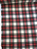 Plaid Brushed Wool Flannel - Cream / Red / Green / Blue