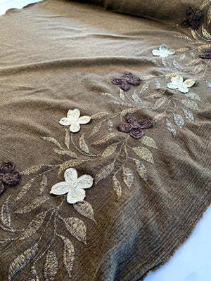 Italian Border Pattern Applique and Embroidered Heavy Brushed Wool Gauze - Brown / Gold