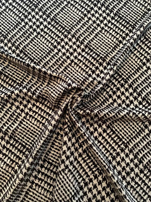 Italian Diagonal Glen Plaid Flocked Wool Flannel Gaberdine - Grey / Black